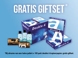 Gratis Treatments giftset bij 1/2 pallet  Double A kopieerpapier
